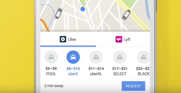 google maps book uber