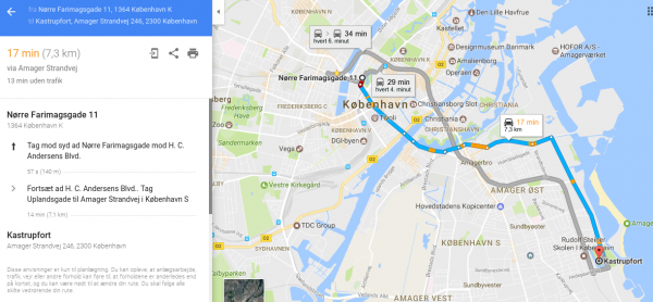maps rutevejledning via