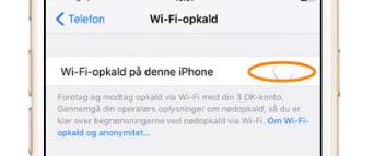 wifi opkald iphone