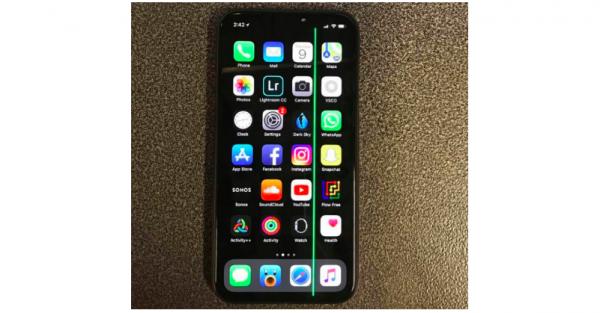 grøn linje iphone x skærm