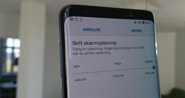 Tip til Samsung Galaxy S9 – skift til højeste skærmopløsning