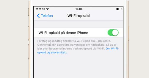 guide wifi opkald iphone