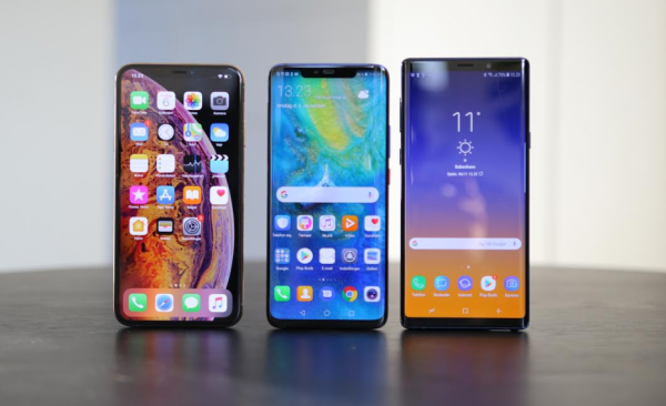 iphone xs max vs huawei mate 20 pro vs samsung galaxy note 9