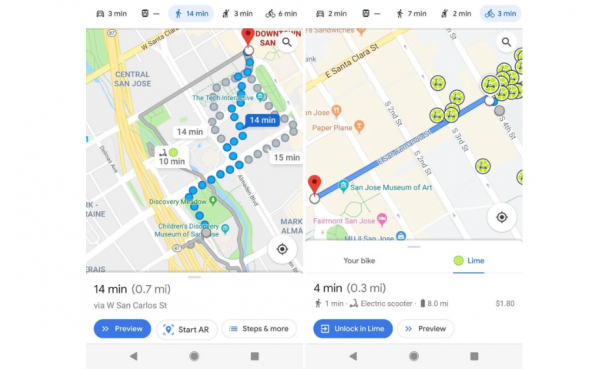 google maps e scooter navigation