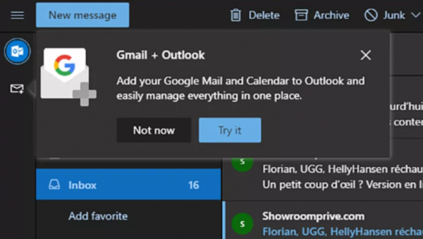 Microsoft tester at integrere Gmail med Outlook