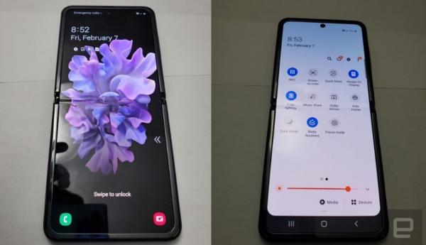 Billeder viser Samsung Galaxy Z Flips design