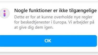Messenger og Instagram har begrænset funktionalitet i Europa