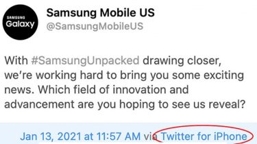 Samsung bruger iPhone til at tweete om Galaxy S21