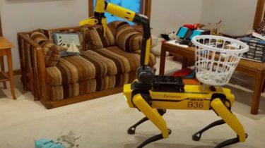 Boston Dynamics robothund i aktion med uhyggelig arm