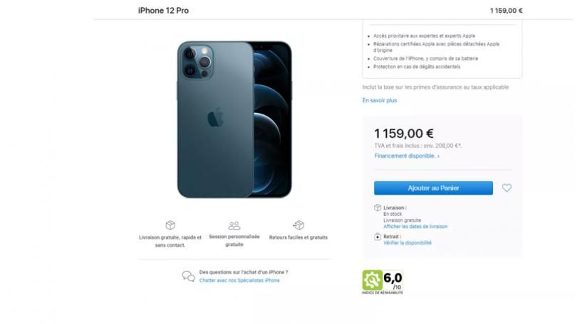 Apple i Frankrig angiver score for hvor let det er at reparere iPhone