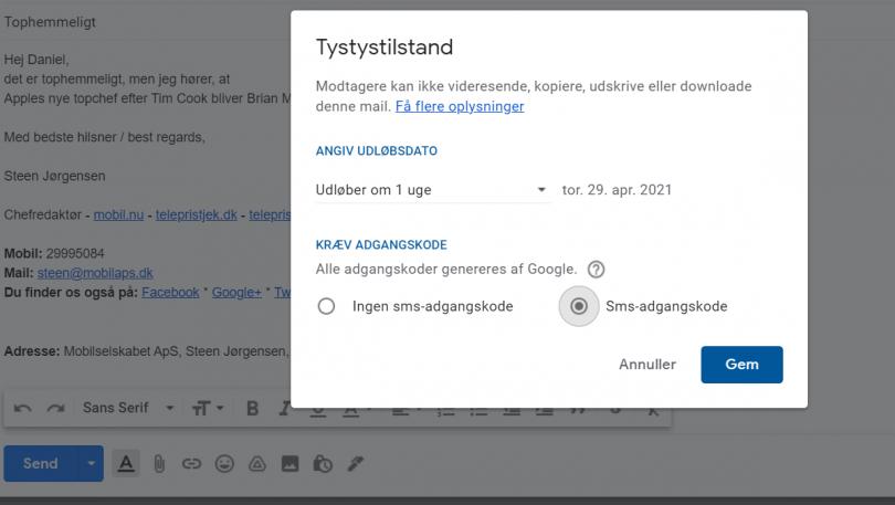Hvordan sender man selvdestruerende emails med Gmail?