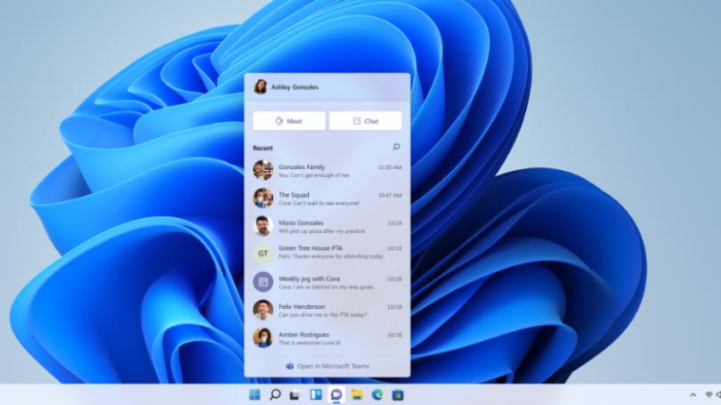 Chat fra Microsoft Teams integreres direkte i værktøjslinjen