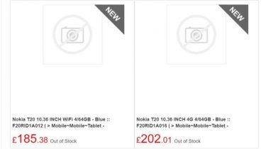 Nokia T20-tablet med 10,36 tommer skærm dukket op online