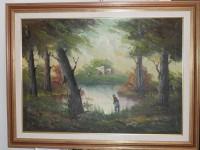 N.1 Quadro dipinto su tela 50x70 ''Il Pescatore'' G. Pepe