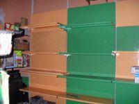 N. 3 Espositori a muro in lamiera con n. 5 mensole
