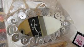 N.1 specchio in metallo e foglia argento