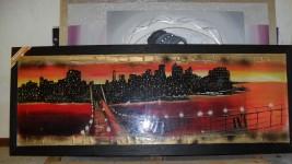 N.1 Quadro dipinto a mano raffigurante Manhattan.