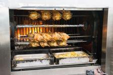 Forno Industriale per polli alla brace a dieci stecche e doppia camera per la legna ...