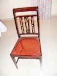 N.4 sedie in legno lucido scuro con seduta in tessuto floreale