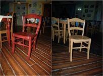 Sedie in legno vari colori con seduta in legno