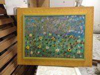 Quadro raffigurante campo di fiori privo di firma, dimensioni 88 cm x 68 cm.
