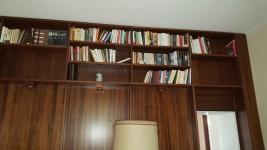 Vari libri, divano, abatjour, tavolino, sedia, Kit caminetto