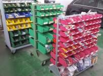 Scaffalature per magazzino, vari inverter per fotovoltaico, pareti divisorie, ...
