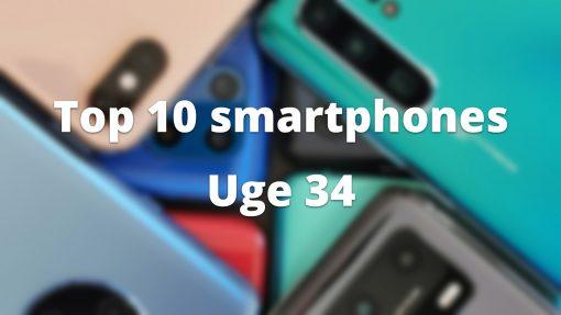 Top 10 smartphones i uge 34 – se aktuelle priser