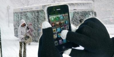 Betjen din smartphone i vinterkulden