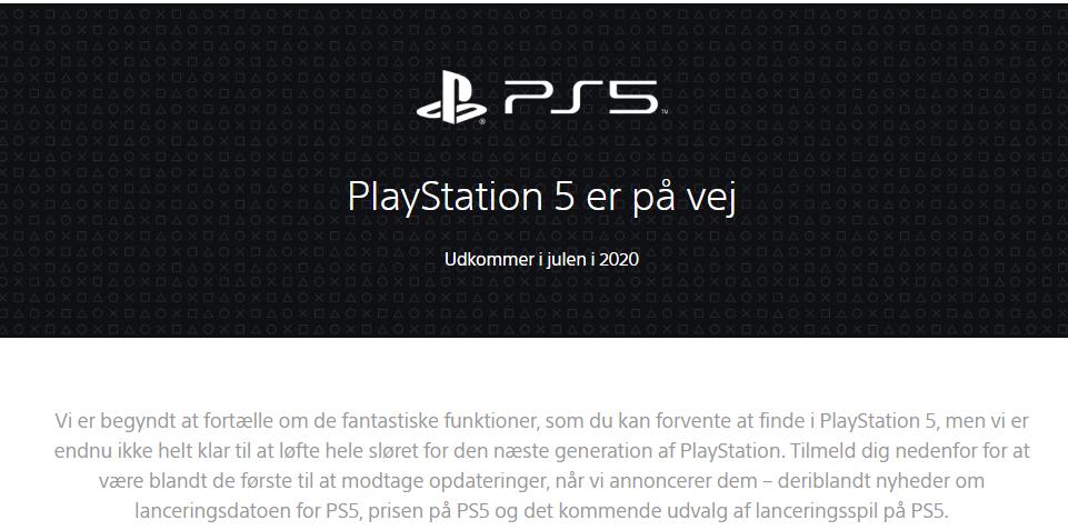 Playstation 5 website