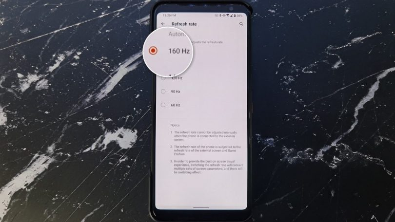 ASUS ROG Phone 3 understøtter helt op til 160 Hz