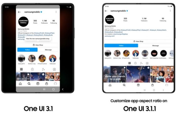 one ui 3.1.1 - app aspect ratio