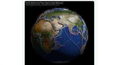Fascinerende 3D-kort over undervandskabler der binder verden sammen
