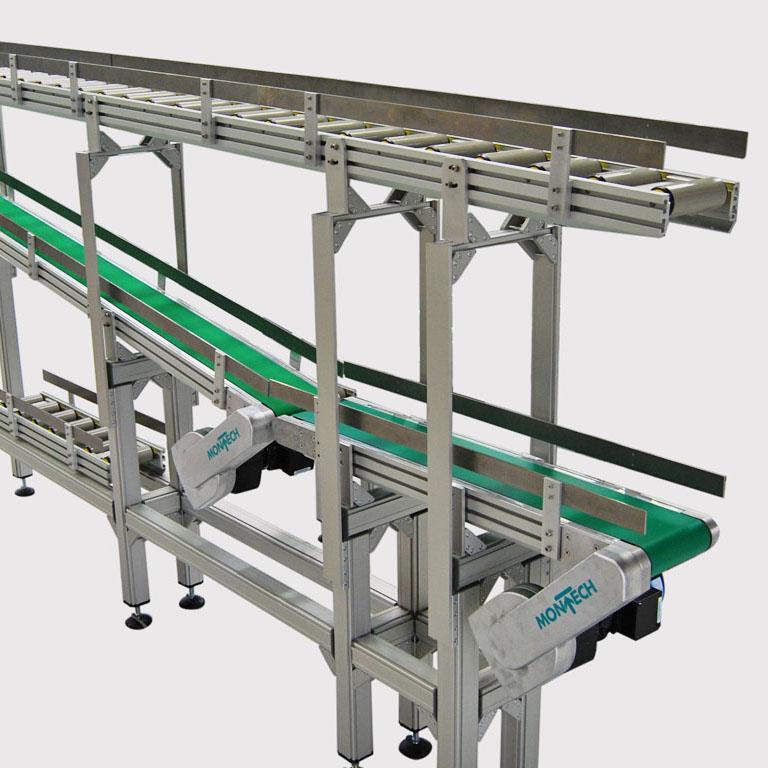 Rollenbahn kundenspezifisch mm-genau erhältlich. - Roller conveyor customizable with millimeter accuracy for clients.