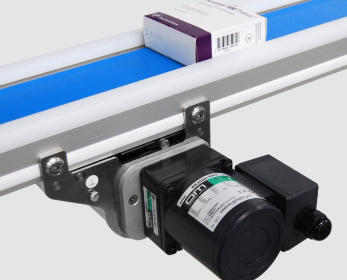 Reinraum Transportband TBR mit Induktionsmotor. - The TBR cleanroom conveyor with induction motor.