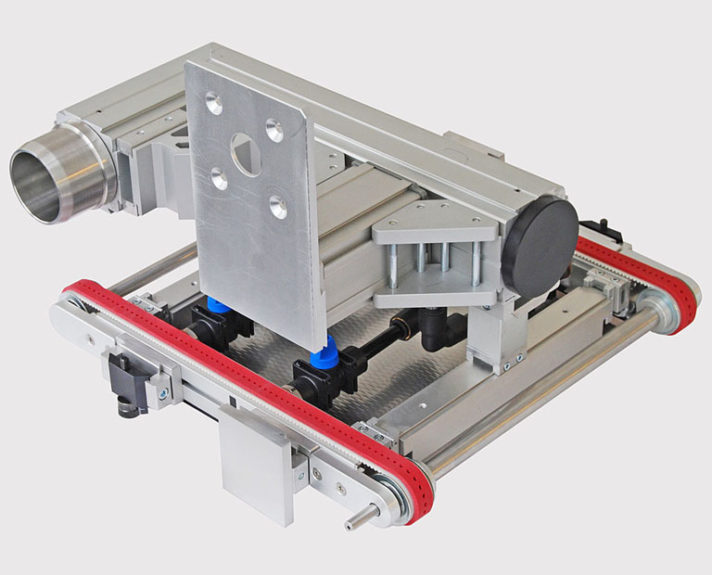 Vakuum-Transportband - die Halterung ist mit Quick-Set-Komponenten realisiert. - Vacuum conveyor the mounting is implemented using quick-set components.