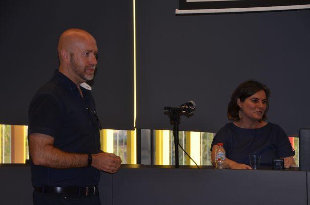 El regidor de Cultura, Sergi Corral, i la periodista Mònica Pagès