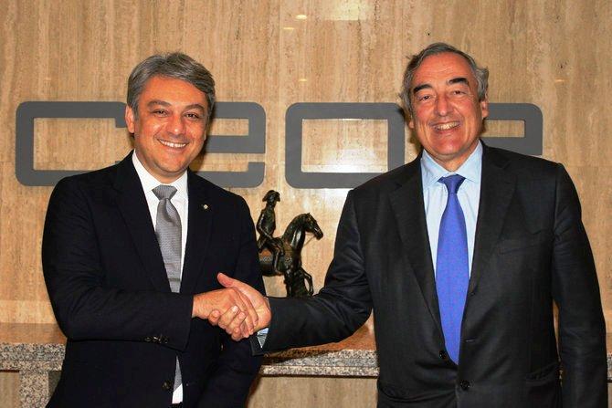Els presidents de Seat i la CEOE, Luca de Meo i Joan Rosell. Foto: ccma.cat
