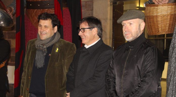 Adolf Bargués, primer tinent d'alcalde, Xavier Fonollosa, alcalde de Martorell, i Sergi Corral, regidor de Cultura