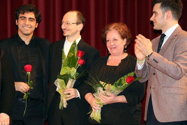 Els pianistes del 2n Concurs de Cant Josep Palet, Alessio Coppola i Marta Pujol, al centre de la imatge