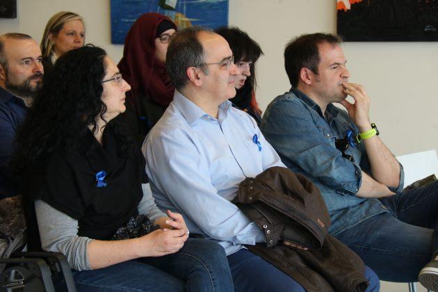 Els regidors Míriam Riera, Lluís Amat i Albert Fernández al col·loqui del Dia Internacional de l'Autisme