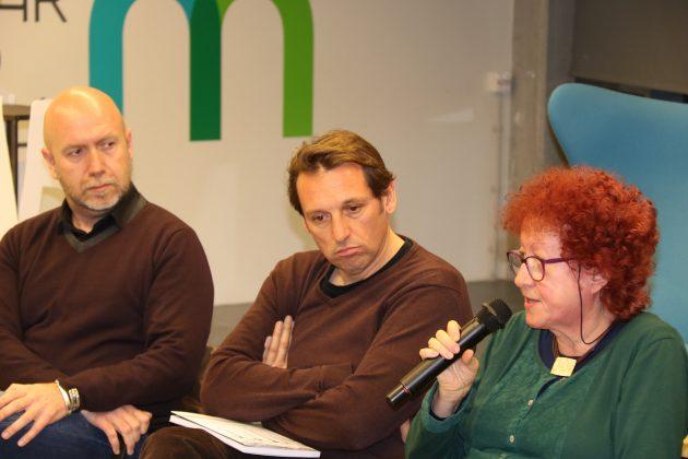 El regidor de Cultura, Sergi Corral, l'autor Santi Borrell, i la presidenta de la Fundació Francesc Pujols, Assumpta Clopas