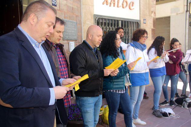 Caramelles a la plaça de la Vila, amb els regidors Lluís Esteve, Albert Fernández, Sergi Corral i Míriam Riera