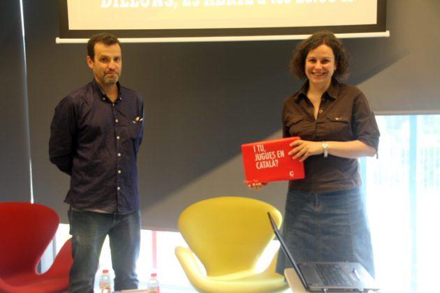 4t Dictat Català de Martorell. Andreu González Castro (Servei Local de Català) i la guanyadora Montserrat Sansano