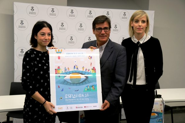 Irene Torrecilla, presidenta Esplac; Xavier Fonollosa, alcalde de Martorelll, i Cristina Dalmau, regidora Joventut