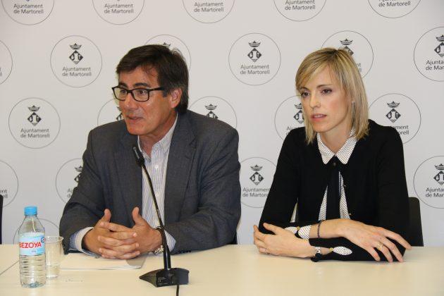 Xavier Fonollosa, alcalde de Martorell, i Cristina Dalmau, regidora de Joventut