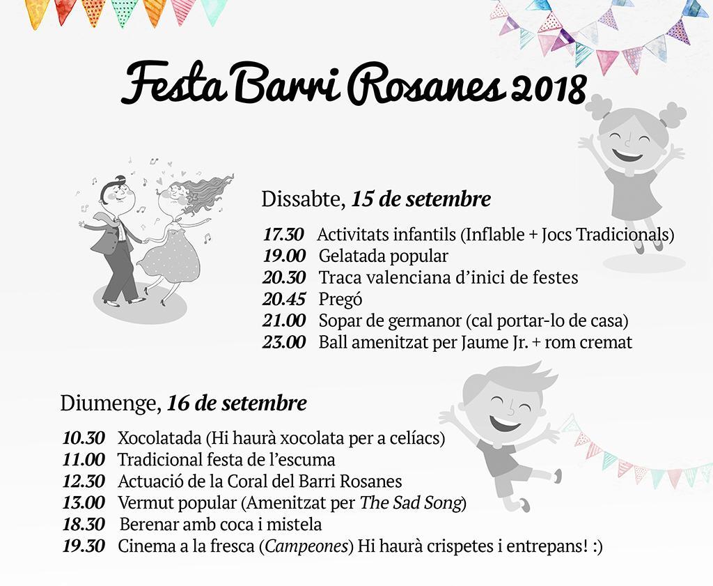 Programació Festa Rosanes 2018