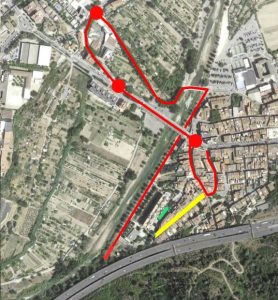 Recorregut alternatiu (en vermell) per accedir a la carretera C-243b direcció Gelida i al cementiri