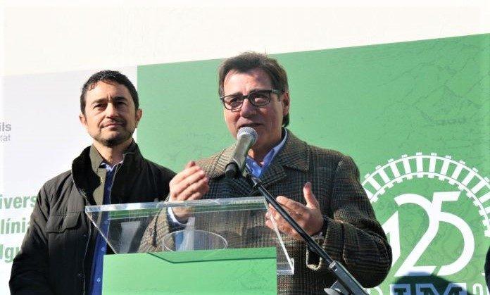 El conseller Damià Calvet i l'alcalde Xavier Fonollosa
