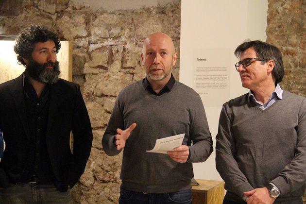 Inauguració de 'Individu'. Benito Rincón, Sergi Corral i Xavier Fonollosa